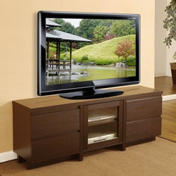 Furniture of America Cosmo 4-drawer Red Cocoa Wood Entertainment Center