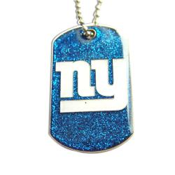 New York Giants Glitter Dog Tag Necklace