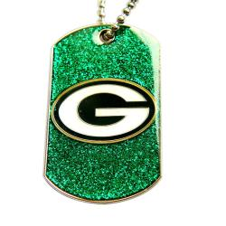 Green Bay Packers Fan Glitter Dog Tag Necklace