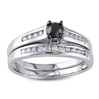 Miadora 10k Gold 1/2ct TDW Black and White Diamond Bridal Ring Set (G-H, I2-I3)