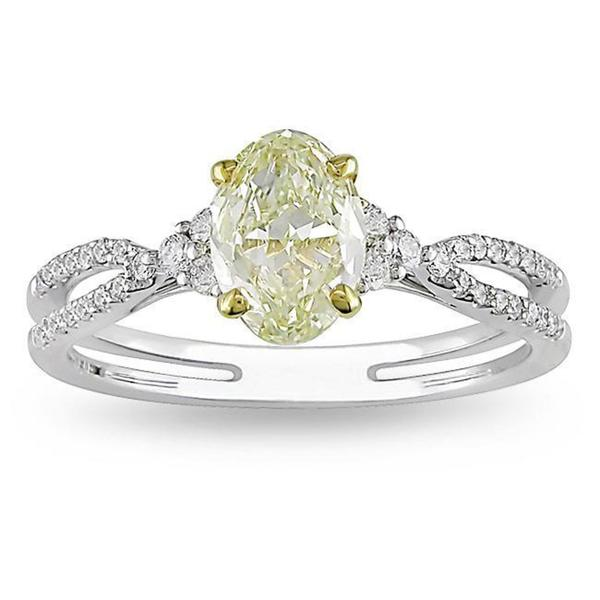 Miadora 18k Gold 1 1/4ct TDW IGL-certified Oval-cut Yellow and White Diamond Ring (G-H, VS1-VS2