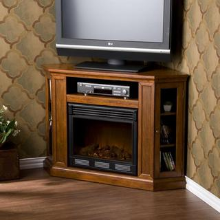 Upton Home Belvedere Mahogany Media Console Electric Fireplace
