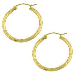 Fremada 10k Yellow Gold 25-mm Diamond-cut Flat Hoop Earrings