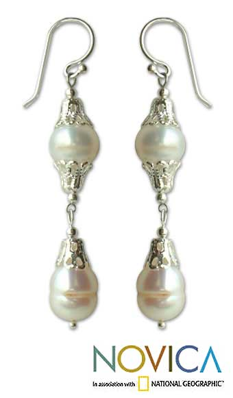 Sterling Silver 'Clouds' Pearl Drop Earrings (8 mm) (Thailand)