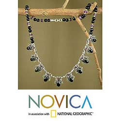 Sterling Silver Onyx 'Abundance' Waterfall Necklace (India)