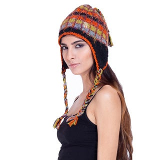 Wool and Recycled Silk Multi-color Beanie (Nepal)