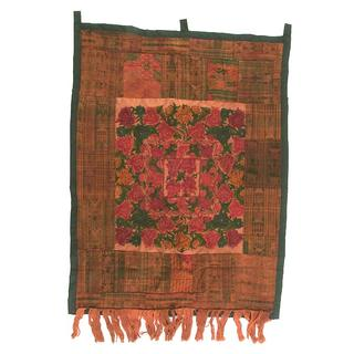 Embroidered Rust-Red Tapestry (Guatemala)