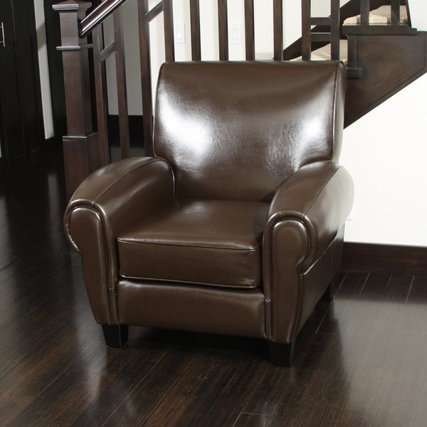 Christopher Knight Home Finley Brown Bonded Leather Club Chair