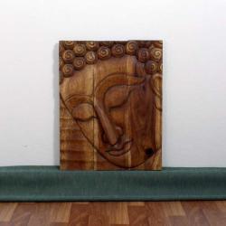 Monkey Pod Wood 24x36-inch Walnut Oil Pacceka Buddha Panel (Thailand)