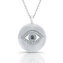 Sterling Silver 1/10ct TDW Black and White Diamond Evil Eye Necklace (J, I2-I3)