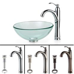 Kraus Bathroom Combo Set Clear 14-inch Glass Vessel Sink/Faucet