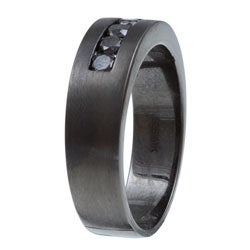 Silver and Black Rhodium Men's 5/8ct TDW Black Diamond Wedding Band