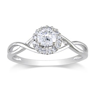 Miadora 10k White Gold 3/8ct TDW Diamond Engagement Ring (G-H, I2-I3)