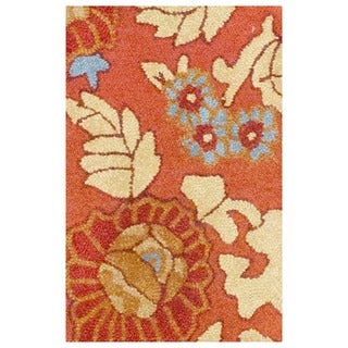 Hand-tufted Indo Rust/ Beige Wool Rug (1'9 x 2'6)