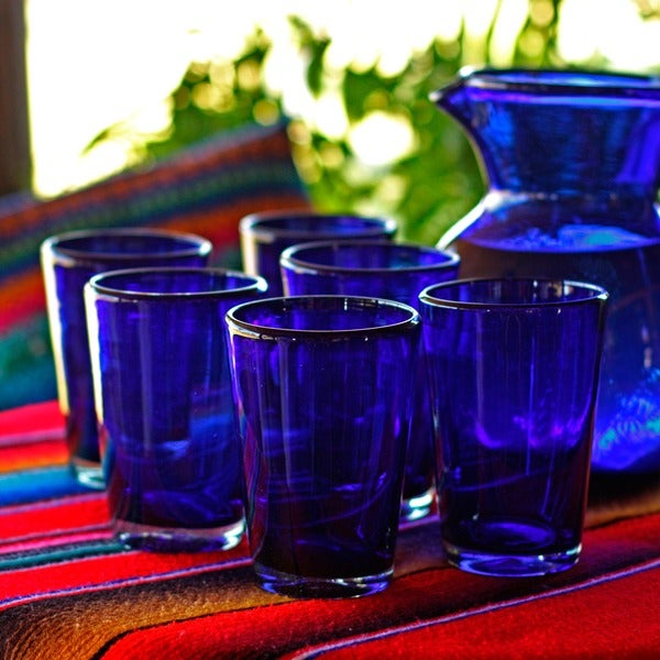 Set of 6 Hand-blown Glass 'Cobalt Angles' Drinking Glasses (Mexico)
