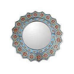 Wood and Glass 'Bluebells' Mirror (Peru)