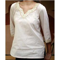 Women's Cotton 'Modern Princess' Beaded Tunic (India)