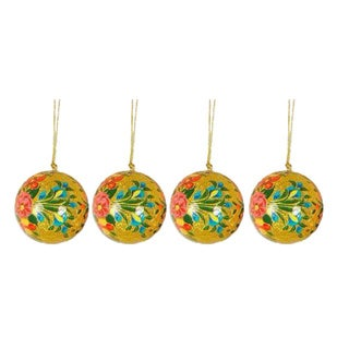 Set Of 4 'Sunlight Joy' Holiday Ornaments (India)