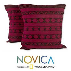 Set of Two Cotton 'Desert Wine' Cushion Covers (India)