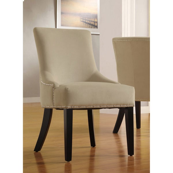 INSPIRE Q Westmont Sandstone Beige Velvet Decorative Chairs (Set of 2)