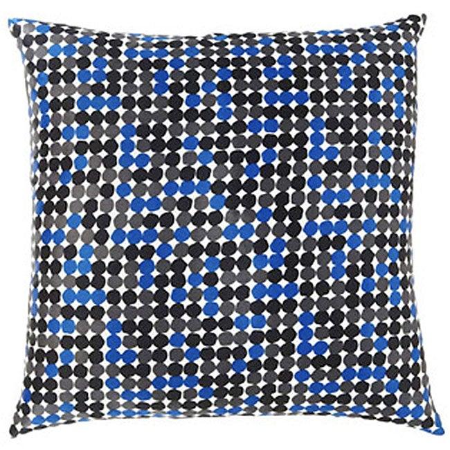 Faux Silk Black and Blue Dot Decorative Pillow