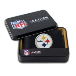 Pittsburgh Steelers Men's Black Leather Bi-fold Wallet