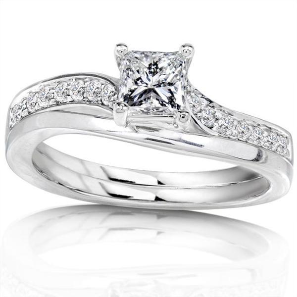 Annello 14k White Gold 1/2ct TDW Diamond Bridal Ring Set (H-I, I1-I2)