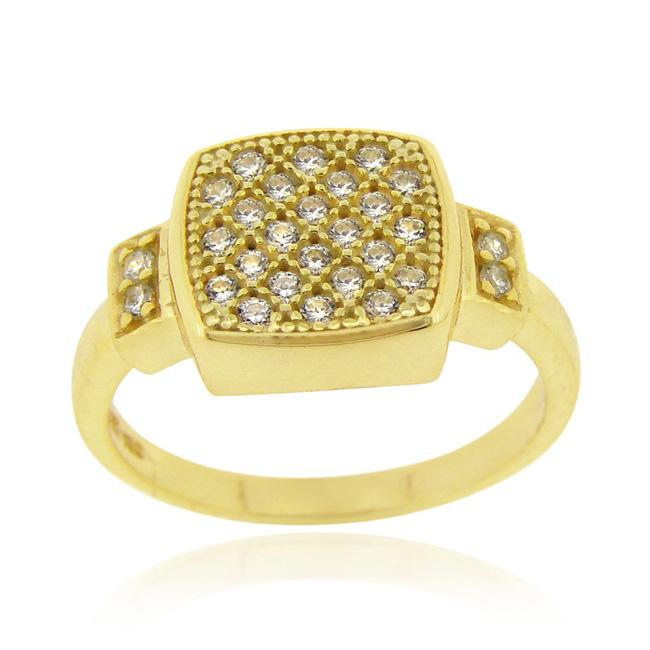 Icz Stonez 18k Gold over Sterling Silver Micro Pave Cubic Zirconia Square Ring