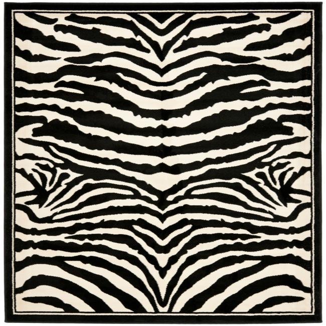 Safavieh Lyndhurst Collection Zebra Black/ White Rug (6' Square)