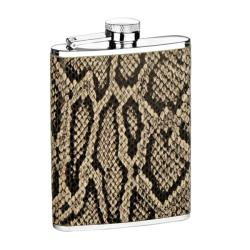Durable Stainless Steel Snakeskin Six-ounce Genuine-leather Flask