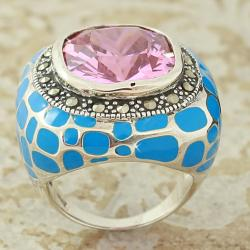 Sterling Silver and Cubic Zirconia Dome Ring (Thailand)