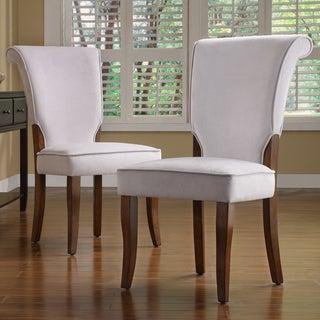 TRIBECCA HOME Andorra Grey Velvet Upholstered Dining Chair (Set of 2)