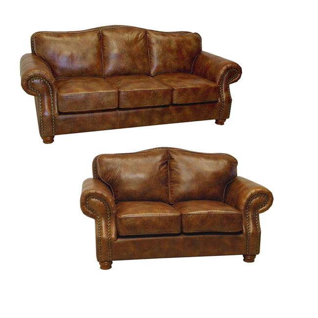 Brandon Distressed Whiskey Italian Leather Sofa And Loveseat Overstock Shopping Great Deals