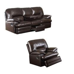 Coney Coffee Italian Leather Reclining Sofa and Recliner Chair