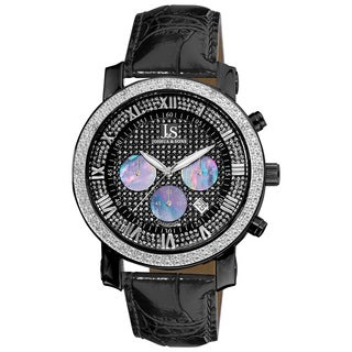 Joshua & Sons Men's Stainless-Steel Diamond Chronograph Strap Watch