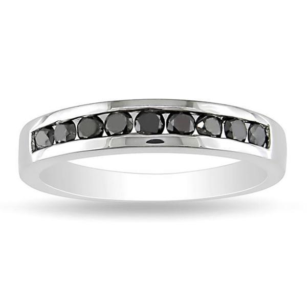 Haylee Jewels Sterling Silver 1/2ct TDW Black Diamond Channel Band