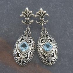 Sterling Silver Blue Topaz 'Cawi' Earrings (Indonesia)