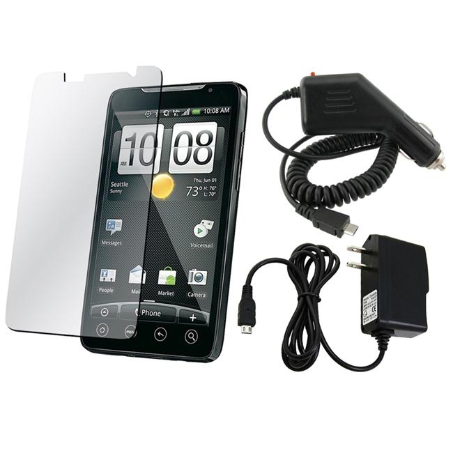 Insten Clear Screen Protector with BasAcc Micro USB Travel/ Car Charger for HTC EVO 4G