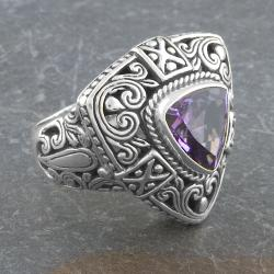 Sterling Silver Amethyst 'Cawi' Ring (Indonesia)