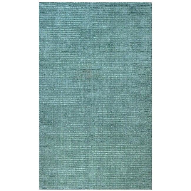 Hand-tufted Pulse Aqua Wool Rug (5' x 8')