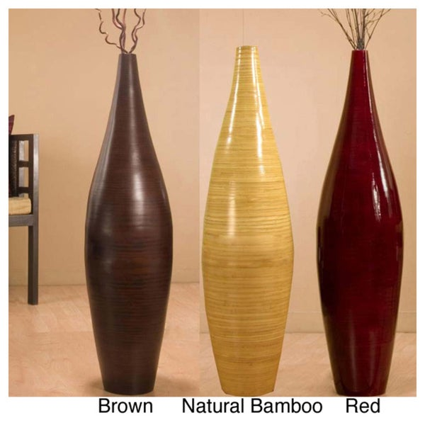 Handcrafted Bamboo Floor Vase and Branches