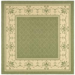 Safavieh Indoor/ Outdoor Royal Olive/ Natural Rug (6' 7 Square)