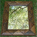 Large Teak Wood Triangle Wall Mirror (Thailand)