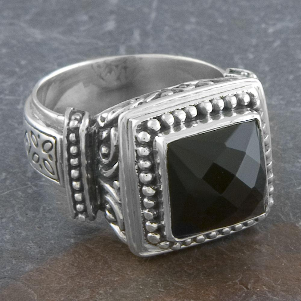 sterling silver cawi ornamented black onyx ring