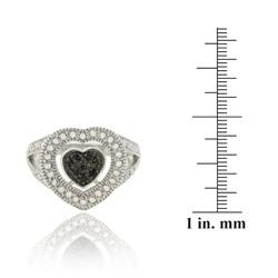 DB Designs Sterling Silver 1/10ct TDW Black Diamond Heart Ring