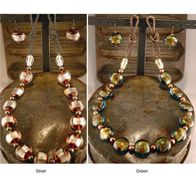 Lamp Glass Beaded Necklace and Earring Set (China)
