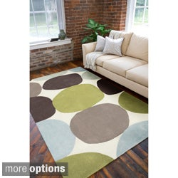 Hand-tufted Contemporary Multi Colored Circles Abstract Rug