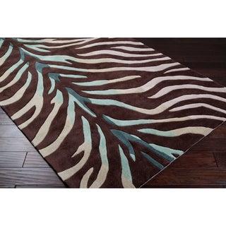 Hand-tufted Brown/Blue Zebra Animal Print Retro Chic Rug (5' x 8')