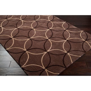 Hand-tufted Contemporary Brown Retro Chic Brown Geometric Abstract Rug (5' x 8')