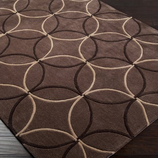 Hand-tufted Contemporary Brown Retro Chic Brown Geometric Abstract Rug (8' x 11')